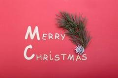 Collection de Noël, boîte de cadeaux, arbre et ornements décoratifs, sur le fond rouge Photographie stock