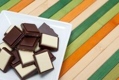 Collection de nourriture - chocolat noir et blanc Images libres de droits