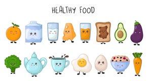 Collection de nourriture de Kawaii illustration stock