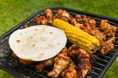 Collection de nourriture sur un BBQ Images stock