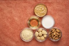 Collection de nourritures superbes d'amande images libres de droits