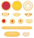 Collection de pâtisserie délicieuse d'isolement sur le fond blanc Image libre de droits