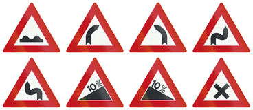 Collection de panneaux routiers d'avertissement néerlandais Image stock