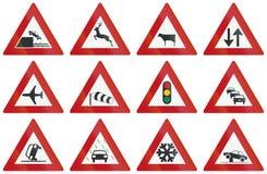 Collection de panneaux routiers d'avertissement néerlandais Image libre de droits