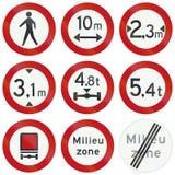 Collection de panneaux routiers de réglementation néerlandais Photo libre de droits