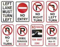Collection de panneaux routiers de réglementation philippins Images libres de droits