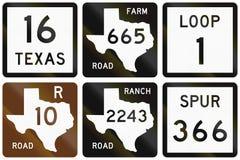 Collection de panneaux routiers numérotés utilisés dans le Texas, Etats-Unis illustration stock