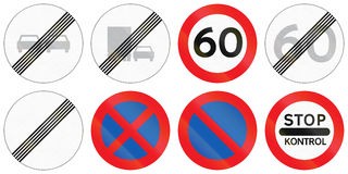 Collection de panneaux routiers utilisés au Danemark Photographie stock libre de droits