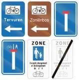 Collection de panneaux routiers utilisés en Belgique Images libres de droits