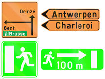 Collection de panneaux routiers utilisés en Belgique Photos libres de droits