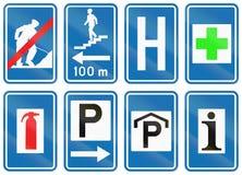 Collection de panneaux routiers utilisés en Belgique Photographie stock