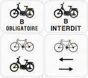 Collection de panneaux routiers utilisés en Belgique Image libre de droits
