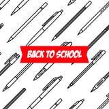 Collection de papeterie le crayon lecteur de bloc-notes usine l'écriture Modèle de stylos et de crayons Style d'ensemble Le crayo illustration libre de droits