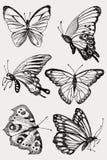 Collection de papillons noirs tirés par la main de silhouette Illustration de vecteur dans le type de cru illustration libre de droits