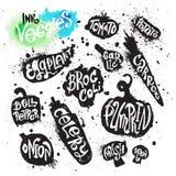 Collection de peinture de jet de silhouette de légumes d'éclaboussure d'encre Photo stock