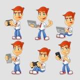 Collection de personnage de dessin animé de connaisseur de technologie Illustration de Vecteur