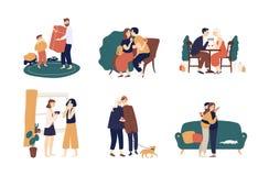 Collection de personnes mignonnes donnant des cadeaux ou des présents entre eux Paquet de scènes avec les hommes heureux adorable illustration stock