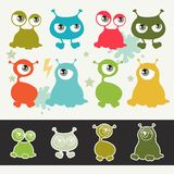 Collection de petits monstres de bande dessinée mignonne Images libres de droits