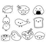Collection de petits pains et de sushi asiatiques de nourriture de kawaii avec des expressions de visages illustration libre de droits