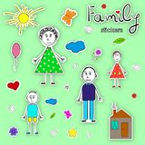 Collection de photos de l'enfant Famille heureux collants Illustration de vecteur Images stock