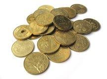 Collection de pièces de monnaie dorée Images stock