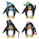 Collection de pingouins sur le fond blanc Photos stock