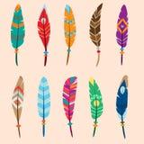 Collection de plumes colorées par vecteur Images libres de droits