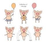 Collection de porcs mignons dans le style de bande dessinée Images libres de droits