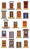 Collection de portes d'entrée fermées de différents types Photographie stock