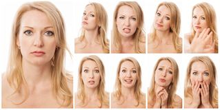 Collection de portraits émotifs d'une jeune belle femme photos libres de droits