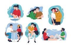 Collection de portraits des couples heureux dans l'amour à l'intérieur des taches colorées Amants dans diverses situations - étre Photo stock