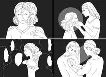 Collection de portraits des jeunes femmes déprimées Concepts de dépression, fatigue, trouble mental, psychologique illustration libre de droits