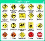 Collection de poteau de signalisation, panneaux routiers d'avertissement Photos stock