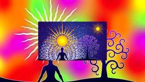 Collection de projection de diapositives de mandalas à jour, colorés, symboliques avec le yogi dans le lotus illustration stock