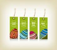 Collection de quatre étiquettes de cadeau de Pâques décorées des lapins, oeufs Images libres de droits