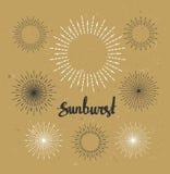 Collection de rayon de soleil de vintage Style de hippie sur le papier de métier Photo stock