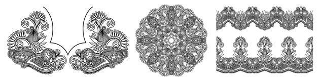 Collection de rayures florales ornementales ethniques décoratives sans couture illustration libre de droits