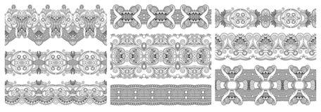 Collection de rayures florales ornementales ethniques décoratives sans couture illustration stock