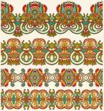 Collection de rayures florales ornementales sans couture Images stock