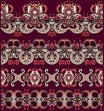Collection de rayures florales ornementales sans couture Images libres de droits