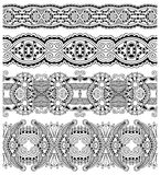 Collection de rayures florales ornementales sans couture, illustration stock