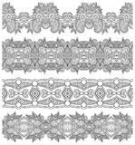 Collection de rayures florales ornementales sans couture, Image stock