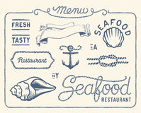 Collection de restaurant de fruits de mer de vintage Images stock