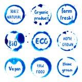 Collection de restaurant de Vegan d'aquarelle ronde Images libres de droits