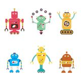 Collection de robots Android a isolé sur le fond blanc Illustration de Vecteur