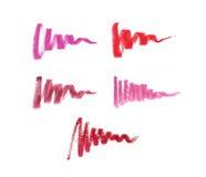 Collection de rouges à lèvres tachés Photographie stock libre de droits