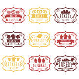Collection de rétros labels de boulangerie de vintage avec du pain, pretze Image stock