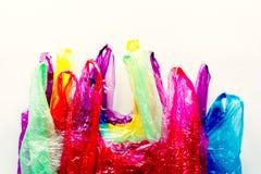 Collection de sacs multicolores en plastique photographie stock