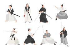 Collection de samouraïs d'isolement sur le fond blanc Ensemble de guerriers japonais masculins portant de divers vêtements, se te illustration de vecteur