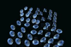 Collection de Sapphire Diamond bleue les diamants 3D rendent illustration libre de droits